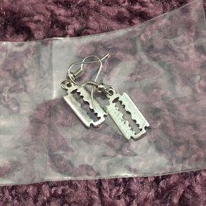 Jewelry - Silver razor blade earrings